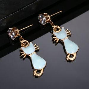 Aqua Blue enamel Cat dangle earrings